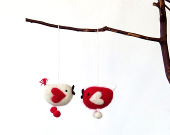 Valentine felt ornament, needle felted miniature bird pair - red and white birds with heart wings
