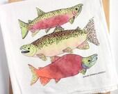 Salmon Tea Towel, Flour sack dish towel