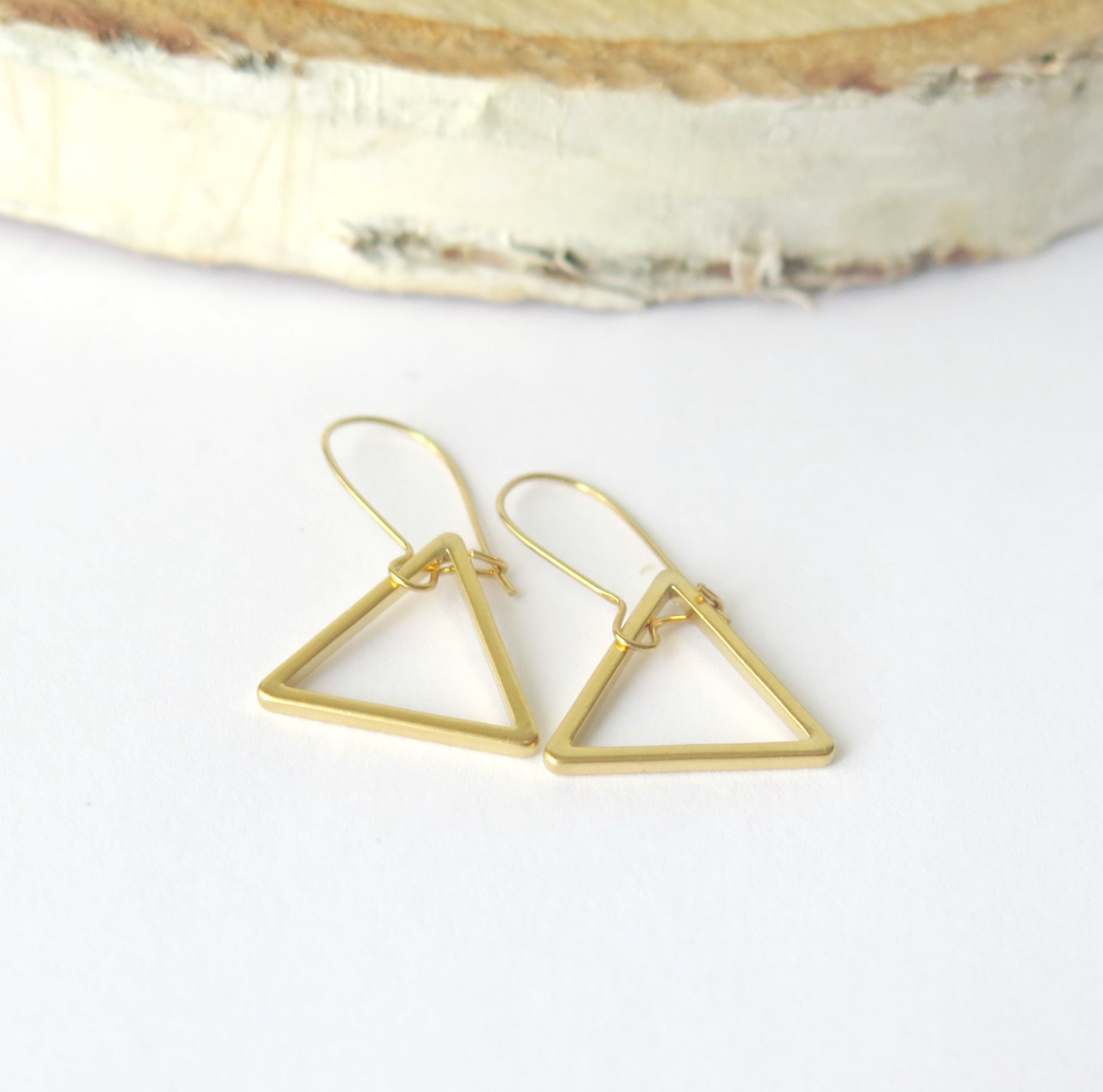Triangle Earrings: Sale Gold Triangle Earrings / Dangle By Theblackstarboutique