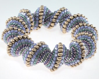 Purple, Gold, and Silver Cellini Spiral Bracelet, Twisted Bracelet