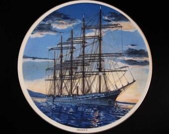 "Sailing Ship France II Collectors Plate Japan 10-1/4"""