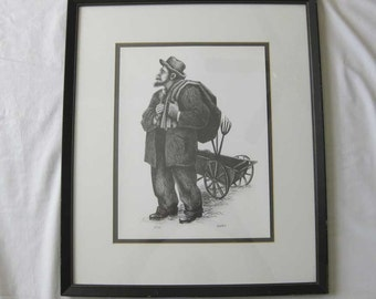 "Gentry ""Old Man"" Pencil Lithograph Signed & Numbered 13/150 Framed Matted W/COA"