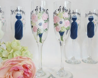 "Hand Painted Personalized Bridesmaid Dress Wine Glasses - ""EXACT DRES REPLICAS"" - Bridal Party Glassware"