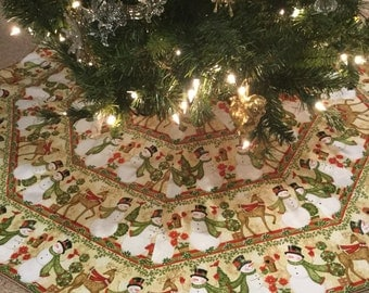 LARGE Snowman & Reindeer Octagon Christmas Tree Skirt IN STOCK