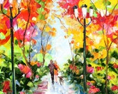 Original oil painting Autumn Walk with the Dog portrait palette knife impressionism on canvas fine art by Karen Tarlton