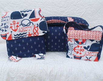 Ahoy!  PERSONALIZED 3 Piece SET  Nap Mat, Back Pack, Lunch Sak by Janiebee