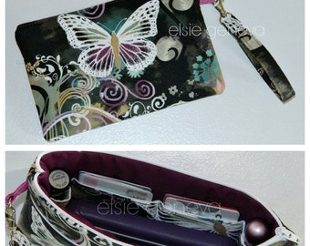Butterfly Phone Case Pouch Wristlet Back Zipper Pocket Credit Card Slots Magenta Aqua Black iPhone 6 Plus Otterbox X Large Made to Order