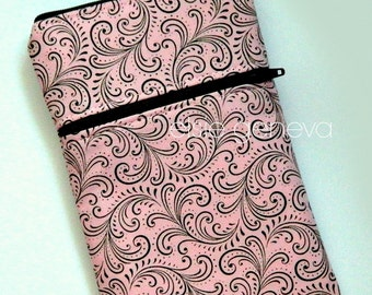 Pink & Black Phone Case with Wrislet or Belt Clip - Belt Loop Clasp - Swirls - iPhone 4 5 6 Plus - Or Choose Any Fabric in Shop