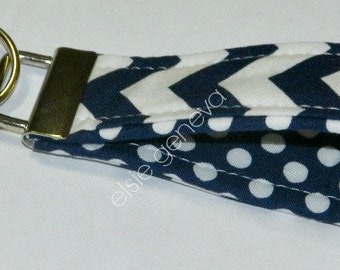 Ready to Ship Navy Blue Chevron & Dots Key Fob Wristlet Keychain Stripes Zigzag