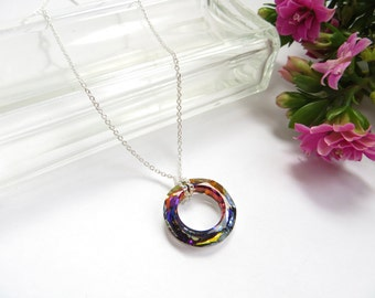 Crystal Circle Necklace In Sterling Silver, Eternity Necklace, Anniversary Necklace, Swarovski Cosmic Ring, Volcanic