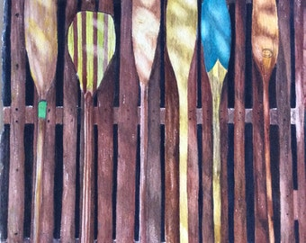 Watercolor of vintage canoe paddles standing up on a fence