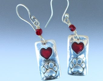 Paw and Red Heart Earrings - Silver and Red Resin - dog lover jewelry - paw earrings - dog paw jewelry - heart earrings - paw jewelry - gift