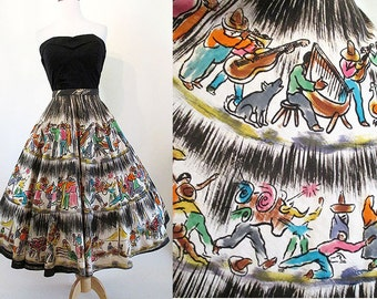 "Awesome 1950's Hand painted Mexican Circle Skirt by ""Mexico Bello"" Western Vintage Rockabilly Pinup Girl VLV Mexi Skirt Size-Large"