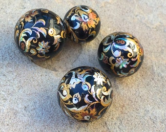 Antique Foil Painted Wooden Beads Jewelry Supply