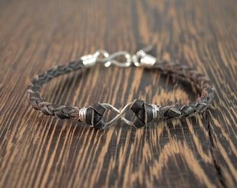 Men's Infinity Bracelet - Sterling Silver and Chocolate Deer Hide Leather