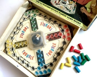 Trouble Game, Vintage TROUBLE Board Game, Vintage Game, 1960s Board Game, Pop O Matic TROUBLE Game, Kohner Bros Trouble Game, Game Collector
