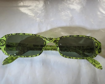 KENZO Lime Green Squiggly Kenzo Logo Eye Glass FRAMES ONLY