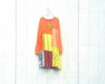 Fall Thanksgiving Halloween Upcycled Fall Tunics funky wearable Art knit recycled tunic plus size clothing by CreoleSha