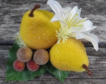 Fruits hair Clip - beaded pears  - Carmen Miranda Style - Burlesque - Retro - Rockabilly