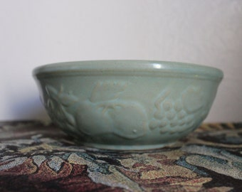 Vintage USA Mixing Bowl - Embossed Fruit Aqua Teal - 1940s YellowWare Stoneware Serving 9 inches