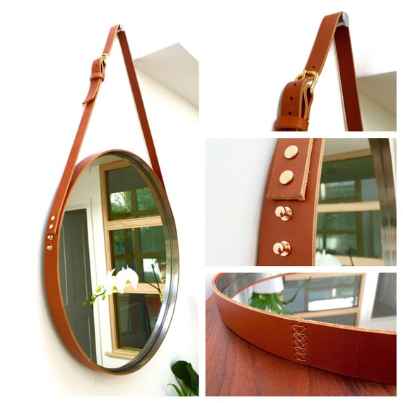Nobi sample sale brown strapped mirror adnet jamie young for Mirror hanging kit