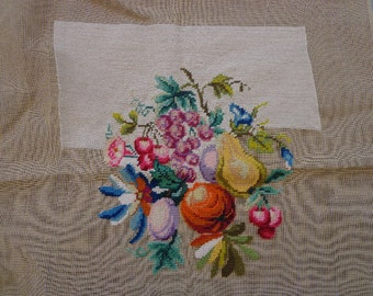 Vintage Fruit and Floral Needlepoint Canvas Partially Worked