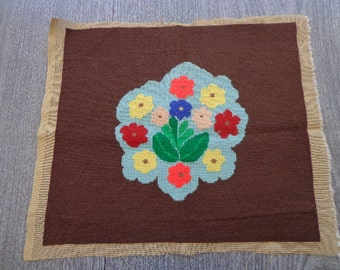 Vintage Completed Needlepoint with Floral Motif