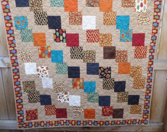 BIRTHDAY SALE - Falling Leaves Autumn Patchwork Lap Quilt