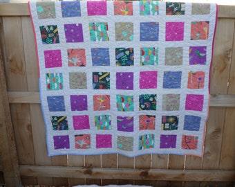 Story Lap Quilt - Handmade - Modern  Patchwork