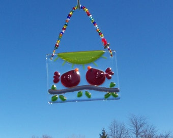 Red Love Birds of Happiness // Fused GLass Suncatcher // Ornament // Sun Catcher // Cardinals // Small // Wedding // Get Well // Cute // Fun