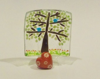 Tree of Life  // Blue Birds of Happiness // Fused GLass Dish // Fun // Whimsical // Colorful  //  Wedding //  Trinket // Rings // Bright