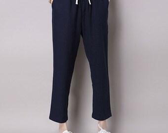 Graceful Casual Navy Blue Long Linen Pants