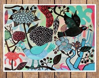 Moraira 2- 8x10 print. Folk flowers, art painting flowers, bohemian, folk, funky, naive, primitive.