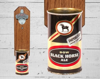 Black Horse Ale Bottle Opener with Vintage Dow Brewery Canadian Beer Can Cap Catcher - Canada Gift for Groomsmen