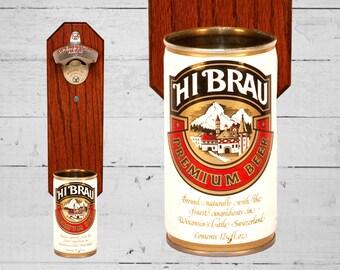 Groomsmen Gift Wall Mounted Bottle Opener with Vintage Hi Brau Beer Can Cap Catcher