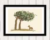 Labrador Puppy Art Print, Windy Trees