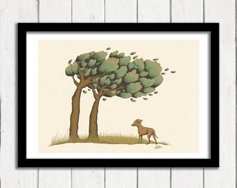Labrador Puppy Art Print, Windy Trees