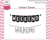 Planner Stamps - Weekend Banners by Annie's Paper Boutique - for Your Filofax, Journal, Inkwell, Erin Condren, ECLP - Clear Stamps
