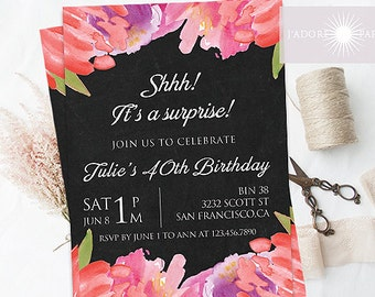 Floral Birthday Invitation, Watercolor Invitation, Surprise, Printable, 30th, 40th Birthday Invite, Chalkboard Invite, Rustic, jadorepaperie