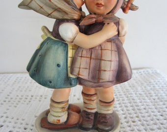 Antique Goebel Hummel Figurine Telling Her Secret Adorable Two Girls