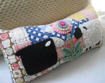 Primitive Sheep on Vintage Quilt- Folk Art