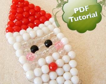 DIY PDF Tutorial - Santa Face, Beaded Christmas Ornament
