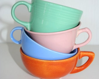 Instant collection of colorful vintage cups. Vernon Ultra cup, Fiesta cup, Parma cup, pink, aqua, blue, orange, California potteries