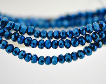 145pcs Crystal Glass Rondelle Faceted Tiny beads 2x3mm, Sparkly Metallic Blue (#BZ03-50)