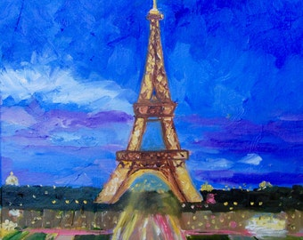 Modern Impressionist Original Oil Painting Palette Knife Eiffel Tower in Paris France by Rebecca Croft