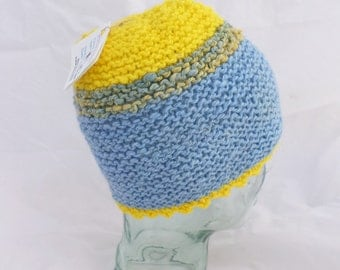 Handspun, Handknit Wool Beanie in Blue and Yellow