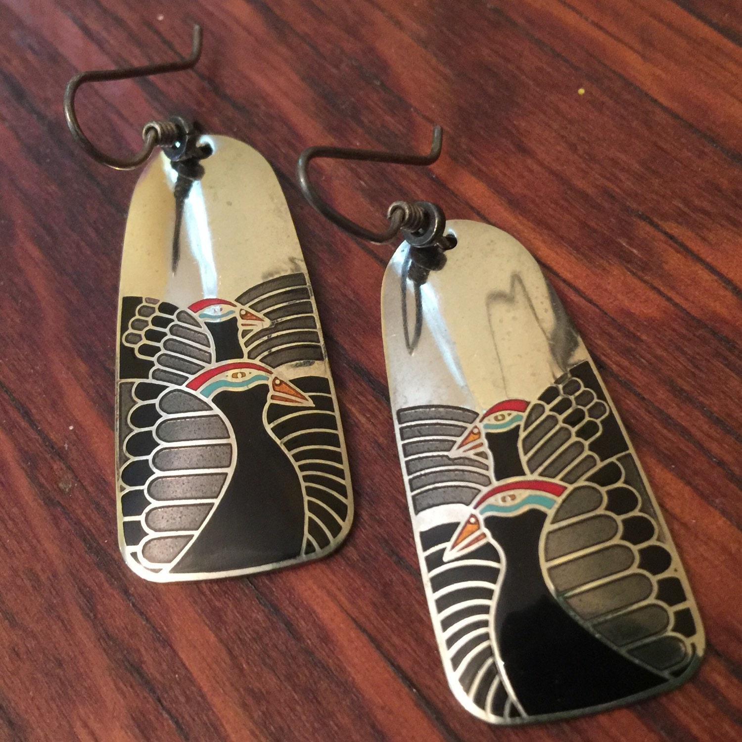 moondoves by laurel burch cloisonne art deco dangle earrings. Black Bedroom Furniture Sets. Home Design Ideas