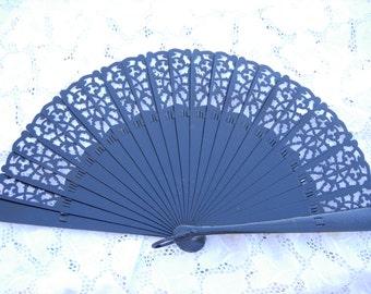 "black lace  ""BARAJA""  wood spanish fan FREE SHIPPING"