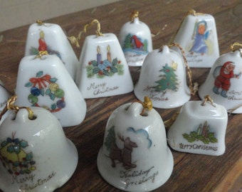 Vintage Christmas Bells Miniature Adorable a dozen of them all different
