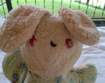 Vintage Bunny Rabbit Pink Plush Stuffed Soft Toy Animal 1950's